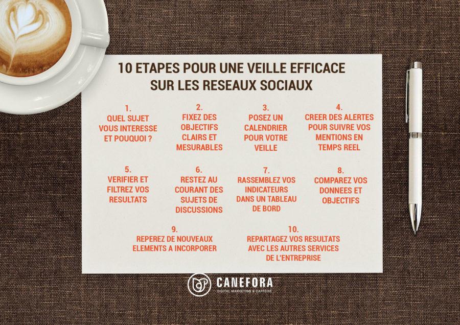 Infographie - Veille efficace sur les réseaux sociaux - Agence de communication web Annecy - Canefora