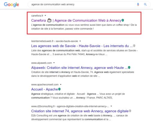 Agence de Communication Web Annecy - Canefora - Recherches organiques - Référencement naturel - SEO - Résultats de recherche Google