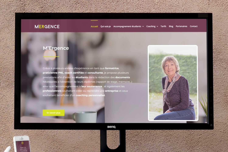 Réalisation site web pour Mergence écran d'ordinateur