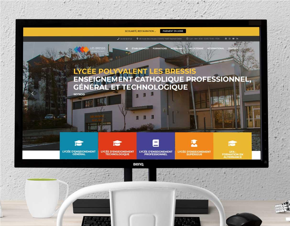 Création site internet lycée Les Bressis écran d'ordinateur