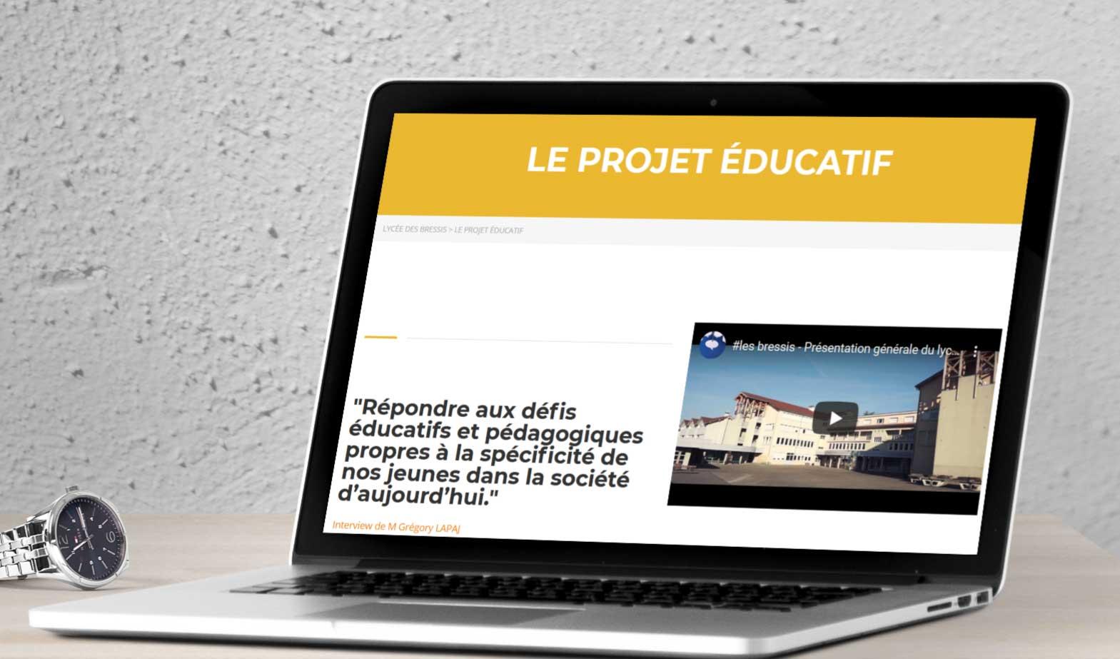 Refonte site internet lycée Les Bressis écran d'ordinateur portable